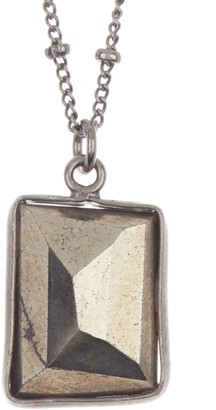 ADORNIA Single Faceted Geometric Cut Pyrite Necklace
