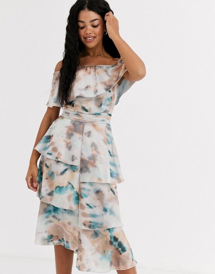 Little Mistress floaty off shoulder dress in marble print