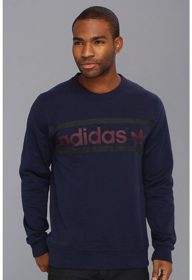 adidas Heritage Logo Crew Neck Sweatshirt (Dark Green/Black/White) - Apparel
