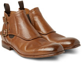 Alexander Mcqueen - Washed-leather Monk-strap Boots