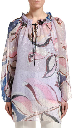Emilio Pucci Silk Long-Sleeve Drawstring Tie-Neck Tunic