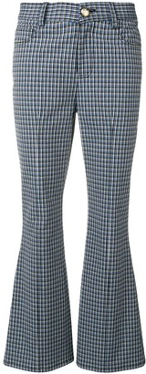 Derek Lam 10 Crosby Cropped Check Flare Trousers