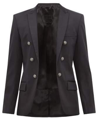 Balmain Open Front Double Breasted Cotton Blend Blazer - Mens - Black