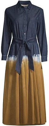 Max Mara Dorina Dip-Dyed Belted Denim Dress