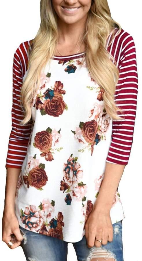 KufvWomens Prints Florals 3/4 Sleeve Crew Neck Top Tshirt (S, )