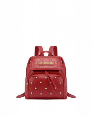 Love Moschino Quilted Backpack With Studs Woman Red Size U It - (one Size Us)