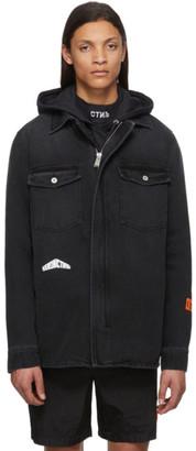 Heron Preston Black Denim Zip-Up Shirt