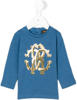 Roberto Cavalli logo motif top - kids - Cotton/Modal - 9 mth