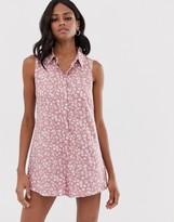 Asos Design DESIGN sleeveless shirt swing romper in ditsy floral print