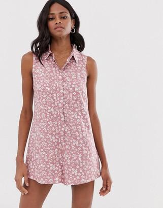 ASOS DESIGN sleeveless shirt swing romper in ditsy floral print