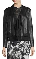 Roberto Cavalli Lace-Trim Zip-Up Leather Jacket, Black
