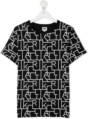 Karl Lagerfeld Paris TEEN geometric logo-print T-shirt