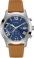 GUESS Men's Tan Leather Strap Watch 44.5mm U0669G3