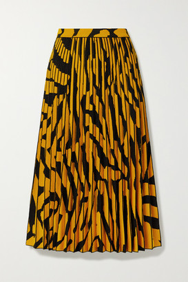 Proenza Schouler Pleated Stretch Jacquard-knit Midi Skirt - Saffron