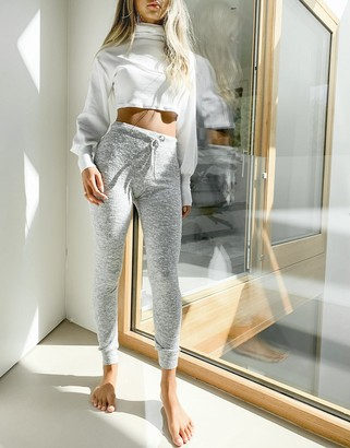 Topshop supersoft slim leg joggers in grey marl