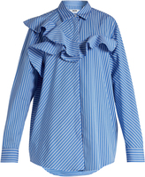 MSGM Ruffle-trimmed striped cotton shirt