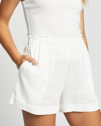 Atmos & Here Atmos&Here - Women's White High-Waisted - Kinsley Linen Shorts - Size 8 at The Iconic