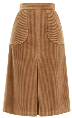 Dolce & Gabbana Inverted-pleated Cotton-blend Corduroy Midi Skirt - Camel