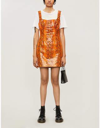GRLFRND Romi snakeskin-print leather mini dress