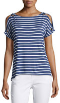Neiman Marcus Boat-Neck Cold-Shoulder Striped Top, Blue/White