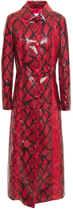 Stand Studio Mia Faux Snake-effect Patent-leather Coat