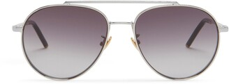 Mulberry Tony Pilot Sunglasses Silver and Charcoal Grey Acetate