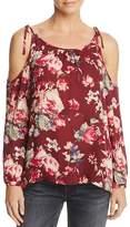 Soft Joie Jilette Cold-Shoulder Floral Print Silk Top