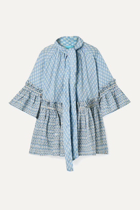 Yvonne S Angelica Ruffled Printed Linen Tunic - Light blue