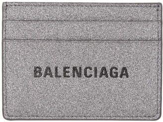 Balenciaga Silver Glitter Everyday Card Holder