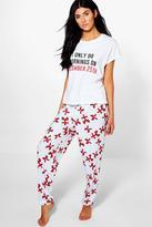 Boohoo Xmas Slogan Printed PJ Trouser Set