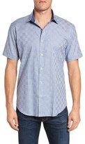 Bugatchi Men's Shaped Fit Houndstooth Check Sport Shirt