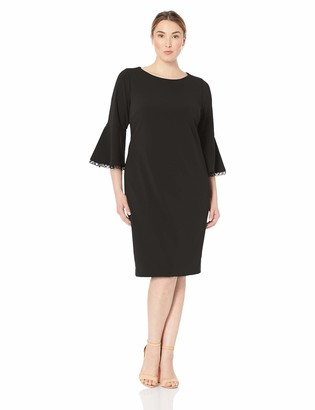 Calvin Klein Women's Size Bell Sleeved Sheath with Novelty Trim Dress