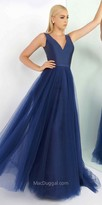 Mac Duggal V-Shape A-Line Tulle and Mikado Evening Dress