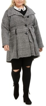 Madden-Girl Juniors' Plus Size Skirted Belted Coat