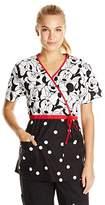 Disney Cherokee Women's Mock Wrap-Top in Minnie Pattern