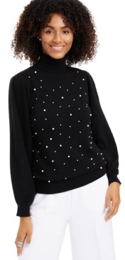 Charter Club Cashmere Embellished Turtleneck Sweater, Created for Macy's