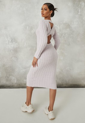 Missguided Petite Grey Popcorn Knit Twist Back Midaxi Dress