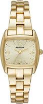 Arizona Womens Gold Tone Rectangular Dial Bracelet Watch