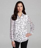 Jones New York Collection Line-Print Button-Front Blouse