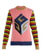 Gucci Cube-intarsia striped wool-blend knit sweater