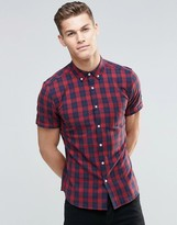 Asos Skinny Shirt With Grid Check In Red With Short Sleeves