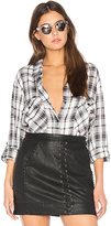 Sanctuary Boyfriend Plaid Button Up in Black & White