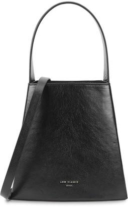 Low Classic Curve mini black leather top handle bag