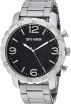 Steve Madden Men's Quartz Stainless Steel Dress Watch, Color: (Model: SMW095-BK)