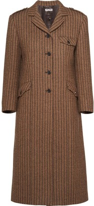 Miu Miu Single-Breasted Check Coat
