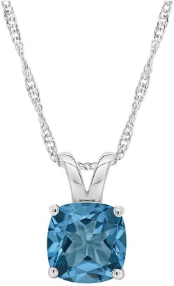 "Sterling Cushion-Cut Solitaire Gemstone Pendant w/ 18"" Chain"