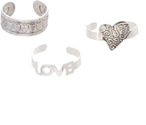 Carole Silvertone 'Love' & Heart Adjustable Ring Set