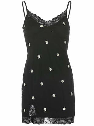 Freebily E-Girl V Neck Spaghetti Strap Bodycon Dress Sexy Floral Printed Summer Y2K Dress Patchwork Mini Dress White S