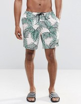 Asos Swim Shorts With Floral And Triangle Logo Print In Mid Length