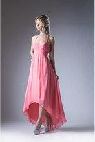 Unique Vintage Coral Pink Chiffon High Low Halter Top Dress
